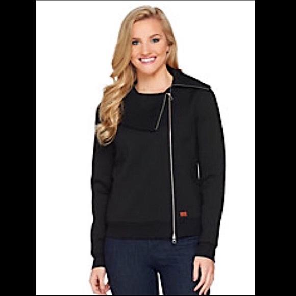 Asymmetric Zip Front Scuba Knit Jacket
